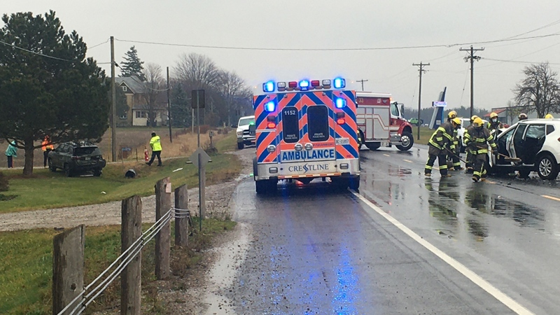 A crash on Highway 3 east of St. Thomas, Ont. is seen on Monday, Nov. 30, 2020. (Brent Lale/CTV London)