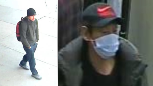Ottawa police are asking for help identifying these two men, who are accused of robbing a bank on Merivale Road Nov. 20, 2020. (Images supplied by the Ottawa Police Service)