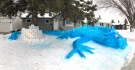 Mel Thompson's eye-catching giant blue dragon is attracting attention in Saskatoon. (Chad Hills/CTV News)