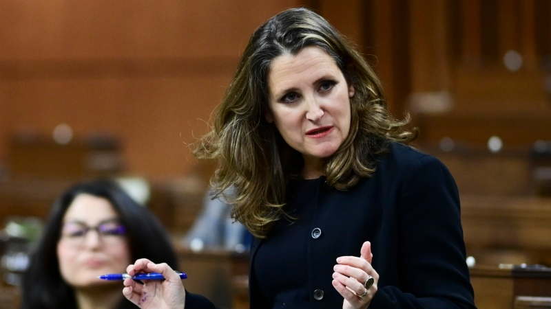 Minister of Finance Chrystia Freeland resends to a question after delivering the 2020 fiscal update in the House of Commons on Parliament Hill in Ottawa on Monday, Nov. 30, 2020. THE CANADIAN PRESS/Sean Kilpatrick