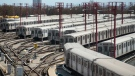 Subway trains line up in a TTC yard in Toronto on Thursday, April 23, 2020. TTC officials have said that they will lay off 1,200 workers temporarily due to the COVID-19 pandemic. THE CANADIAN PRESS/Nathan Denette