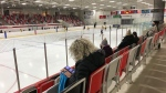 Spectators sit in the stands at the Innisfil Recreation Complex in Innisfil, Ont., on Nov. 30, 2020. (Rob Cooper/CTV News)