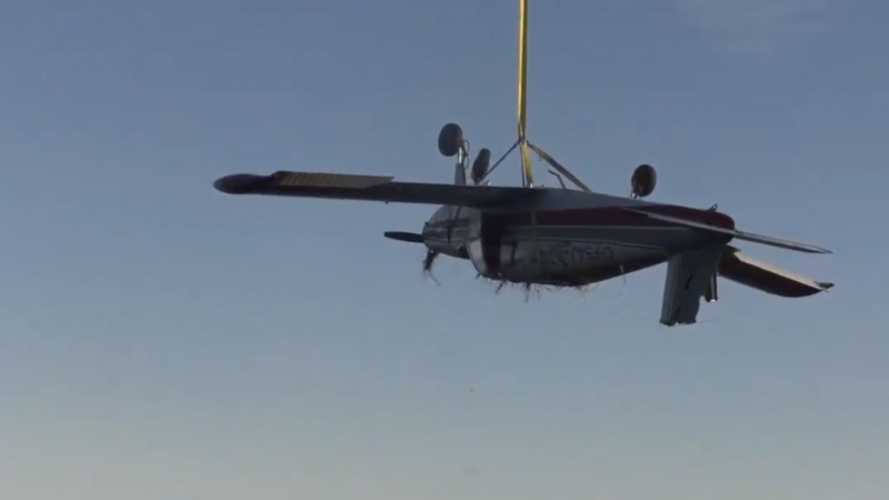 The 1968 Piper aircraft was lifted from the scene by helicopter Monday, Nov. 30. (CTV News)