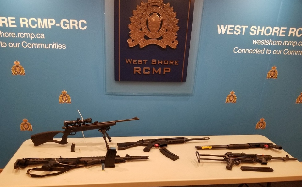 Five firearms, two of which were laoded, were seized by police during a traffic stop Saturday: (West Shore RCMP)