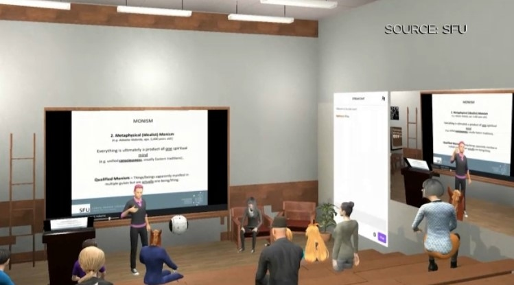 A screenshot from an online classroom using a virtual platform created by Tivoli Cloud VR for Simon Fraser University. Source: SFU