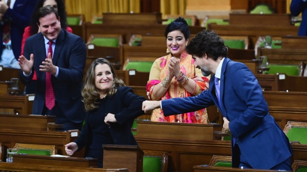 Minister of Finance Chrystia Freeland gets a fist bump from Prime Minister Justin Trudeau after delivering the 2020 fiscal update in the House of Commons on Parliament Hill in Ottawa on Monday, Nov. 30, 2020. THE CANADIAN PRESS/Sean Kilpatrick