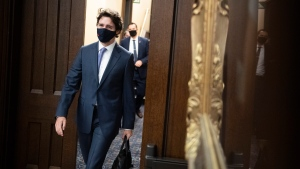Prime Minister Justin Trudeau arrives for the tabling of a fiscal update in the House of Commons, in Ottawa, on Monday, Nov. 30, 2020. THE CANADIAN PRESS/Justin Tang
