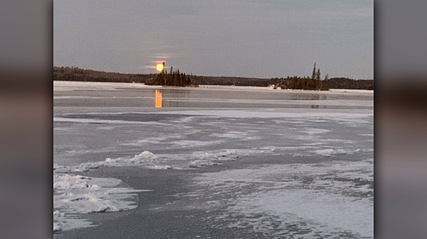 Moonrise At Falcon Lake. Photo by Larry.