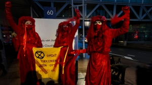 "Demonstrators hold a banner reading ""standing by and watching is no longer an option"" outside the court building prior to the start of the court case of Milieudefensie, the Dutch arm of the Friends of the Earth environmental organization, against Shell in The Hague, Netherlands, Tuesday, Dec. 1, 2020. (AP Photo/Peter Dejong)"