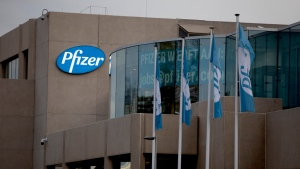 In this Monday, Nov. 9, 2020 file photo, a general view of Pfizer Manufacturing Belgium in Puurs, Belgium. (AP Photo/Virginia Mayo, file)