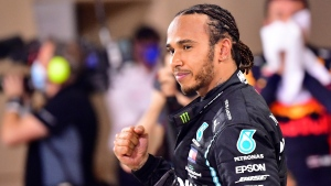 Mercedes driver Lewis Hamilton in Sakhir, Bahrain, on Nov. 29, 2020. (Giuseppe Cacace, Pool via AP, File)