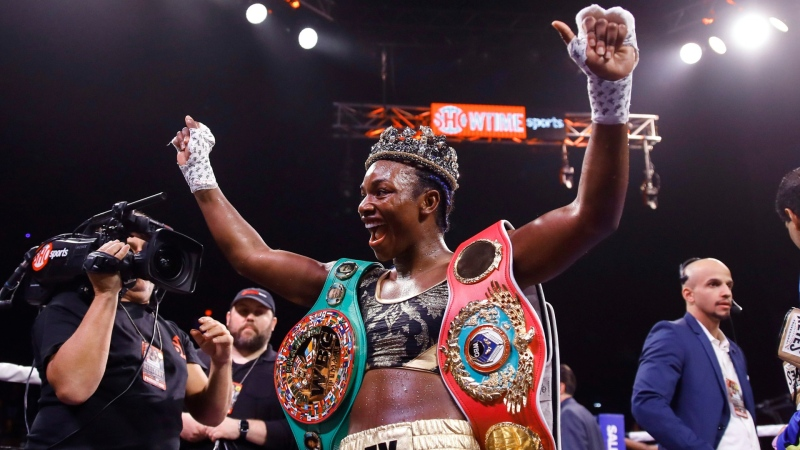 Claressa Shields after defeating Ivana Habazin in their 154-pound title boxing bout in Atlantic City, N.J., on Jan. 10, 2020. (Matt Rourke / AP)