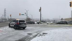 A Waterloo Regional Police Service cruiser seen blocking Fischer-Hallman Road near the Highway 7/8 on-ramp. (Tegan Versolatto / CTV Kitchener)