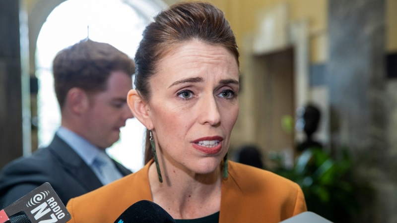 New Zealand Prime Minister Jacinda Ardern speaks during a media stand-up on her way to Question Time at Parliament, in Wellington, New Zealand on Dec. 1, 2020. (Mark Mitchell / NZ Herald via AP)