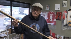 Joe Steele has displayed his hockey memorabilia collection in a downtown Powassan store. Nov. 30/20 (Eric Taschner/CTV Northern Ontario)