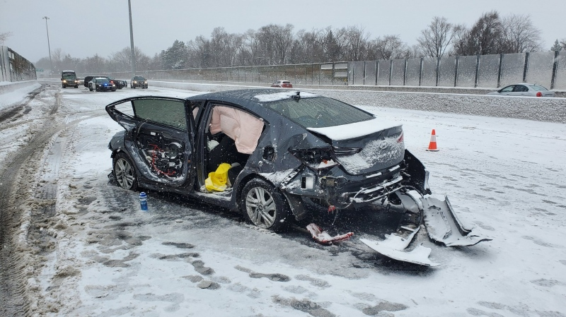 A vehicle after a fatal multi-vehicle crash on Highway 7/8 on Dec. 1, 2020. (@OPP_WR / Twitter)