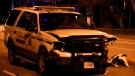 A crash involving an RCMP vehicle shut down a road in Surrey on Nov. 30, 2020.