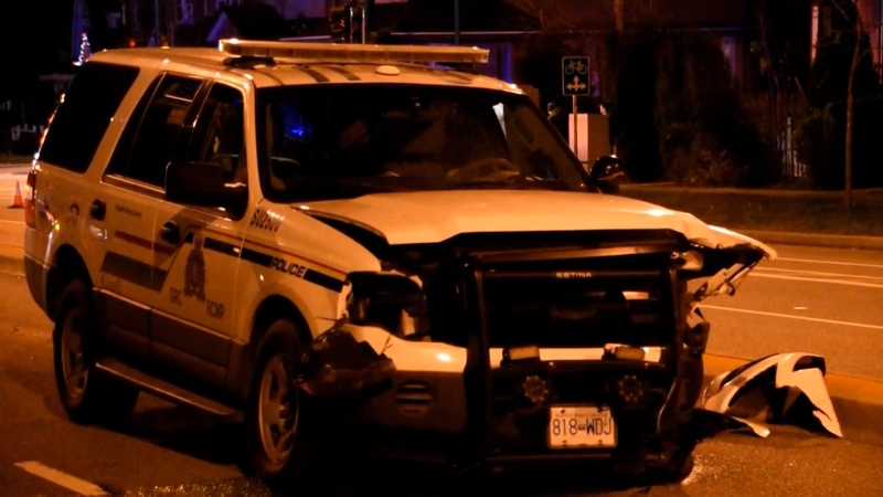 A crash involving an RCMP vehicle shut down a road in Surrey on Nov. 30, 2020.