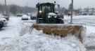A plow clears snow in London, Ont. on Tuesday, Dec. 1, 2020. (Sean Irvine / CTV News)