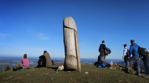 Hikers can enjoy the view from the two-metre-high wooden penis sculpture on the ridge of the Grünten in Rettenberg, Bavaria, Nov. 14, 2020. This unusual 'cultural monument' has been standing on the mountain for four years. (Photo by Karl-Josef Hildenbrand/picture alliance via Getty Images)