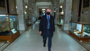 Former head of the Canadian Armed Forces Gen. Rick Hillier walks to the Premer's office at the Ontario Legislature in Toronto on Friday November 27, 2020. THE CANADIAN PRESS/Frank Gunn