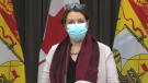 New Brunswick chief medical officer of health Dr. Jennifer Russell provides an update on COVID-19 at a news conference in Fredericton on Dec. 1, 2020.