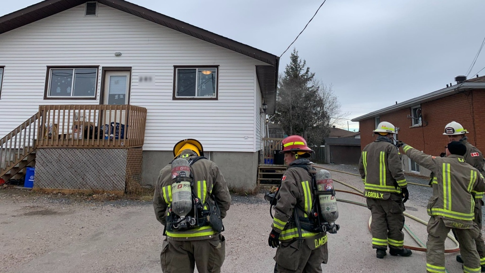 Firefighters at the scene of a blaze on Cote Ave. Dec. 1/20 (Jesse Oshell)