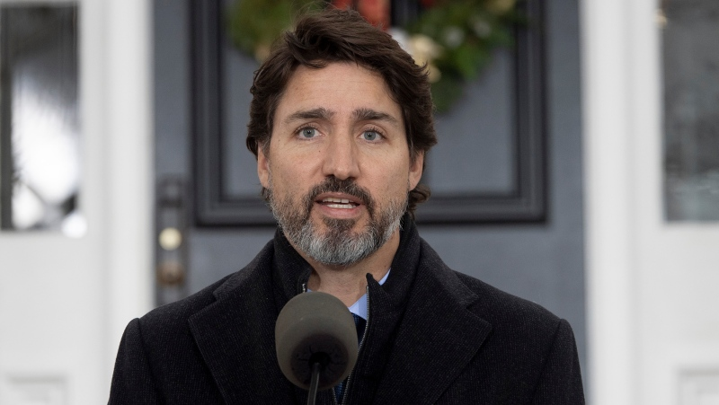 Prime Minister Justin Trudeau holds a press conference at Rideau Cottage during the COVID pandemic in Ottawa on Tuesday, Dec. 1, 2020. THE CANADIAN PRESS/Sean Kilpatrick