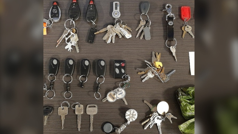 Victoria police are hoping to return a horde of allegedly stolen keys and key fobs: (Victoria Police)