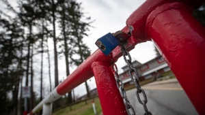 A padlocked gate is seen outside Cambridge Elementary School, which was ordered closed for two weeks by Fraser Health due to a COVID-19 outbreak, in Surrey, B.C., on Sunday, Nov. 15, 2020. (Darryl Dyck / THE CANADIAN PRESS)