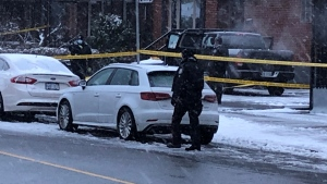 Emergency crews attend the scene of a fatal shooting on Dec. 1, 2020. (Sean MacInnes/CTV News Toronto)