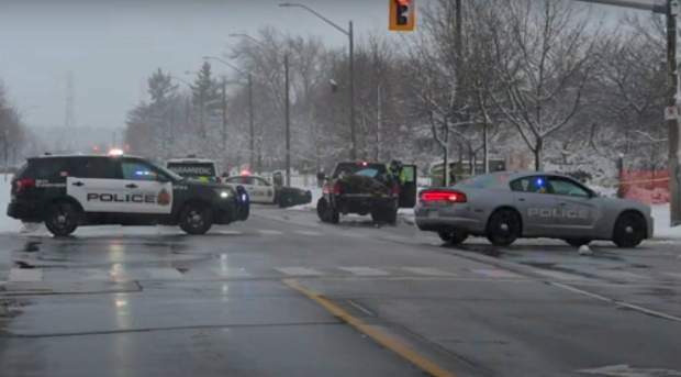 Emergency crews attend the scene of a collision in Hamilton, Ont. on Dec. 1, 2020. (Andrew Collins)
