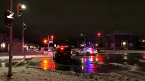 Emergency crews attend the scene of a crash that left an 11-year-old boy injured on Dec. 1, 2020. (Beth Macdonell/CTV News Toronto)