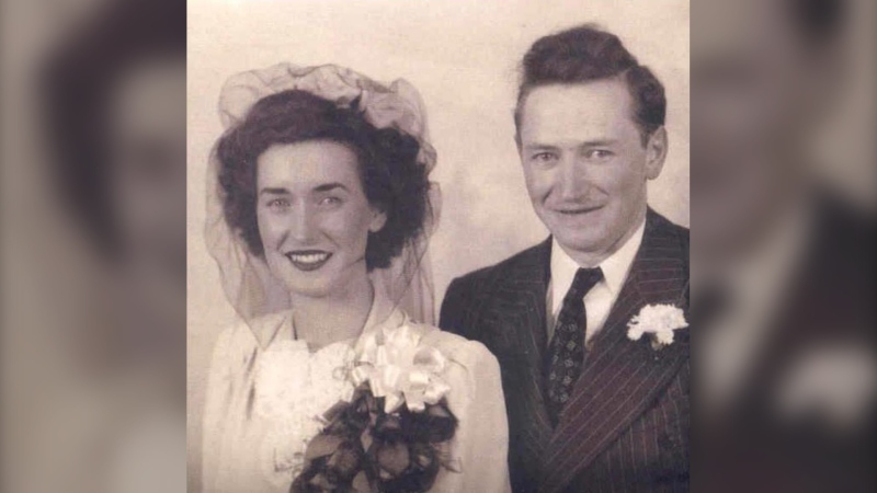 Ruth and John Schroeder, pictured after their wedding in 1945. (Photo courtesy: Amanda McVicar)