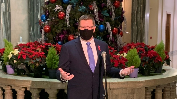 Saskatchewan Premier Scott Moe takes questions from reporters at the Saskatchewan Legislative Building on Dec. 1, 2020. (Wayne Mantyka/CTV News)