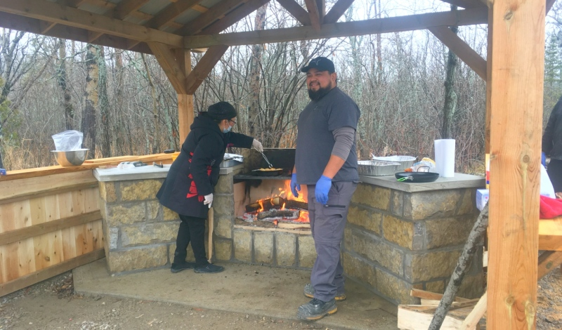 Wikwemikong Tourism plans to offer authentic Indigenous experiences and recently completed construction of an outdoor kitchen and made enhancements to the popular Bebamikawe Memorial Trail. (Alana Everson/CTV News)