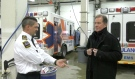 Jean Carriere, chief paramedic for Cochrane District EMS, explains to Timmins Mayor George Pirie how paramedics will be able to host health or vaccine clinics at seniors apartment buildings and long-term care facilities, but will also be equipped to respond to an emergency. (Lydia Chubak/CTV News)
