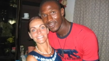 Lainie Towell and her then husband Fode Mohamed Soumah before he disappeared. Towell's dreams were shattered and she realized that, as his sponsor, she would indeed be responsible for him for three years.