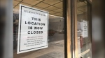 A closed sign outside of the Hudson's Bay store in Downtown Winnipeg. The store officially closed on Nov. 30. (Source: Josh Crabb/CTV News)