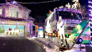 """A Stony Plain home has been dubbed the """"Griswold House"""" for it's elaborate light setup. Tuesday Dec. 01, 2020 (Sean Amato/CTV News Edmonton)"""