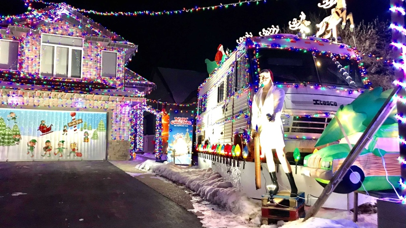 "A Stony Plain home has been dubbed the ""Griswold House"" for it's elaborate light setup. Tuesday Dec. 01, 2020 (Sean Amato/CTV News Edmonton)"