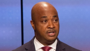 In this Sunday, Oct. 22, 2017 photo, Kwanza Hall answers a question during the Atlanta Police Foundation's Atlanta Mayoral debate hosted by WSB-TV at their studios in Atlanta. (Phil Skinner/Atlanta Journal-Constitution via AP)