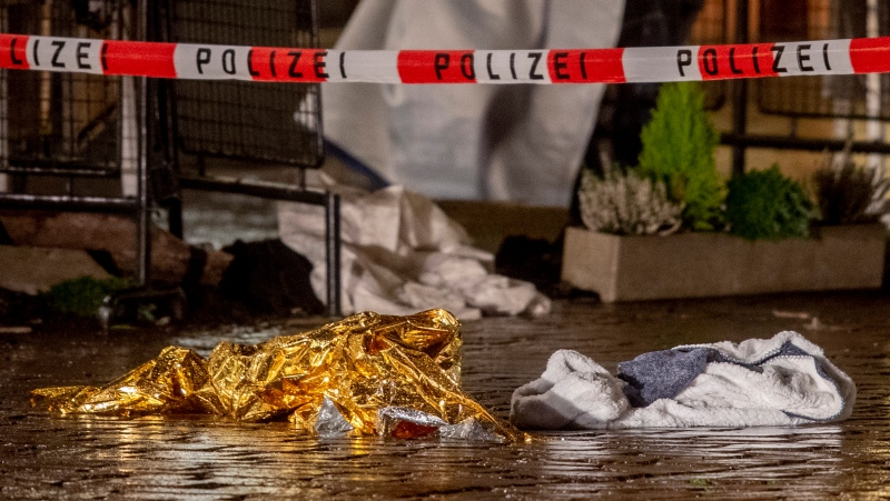 Evidence lies at the scene of an incident in Trier, Germany, Tuesday, Dec. 1, 2020. (AP Photo/Michael Probst)