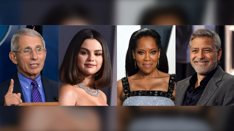 "This combination photo shows Dr. Anthony Fauci, actress-singer Selena Gomez, actress-director Regina King and actor-activist George Clooney, who were named ""2020 People of the Year"" by People Magazine. (AP Photo)"