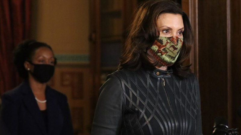 In this photo provided by the Michigan Office of the Governor, Michigan Gov. Gretchen Whitmer addresses the state during a speech in Lansing, Mich., Tuesday, Dec. 1, 2020. (Michigan Office of the Governor via AP)