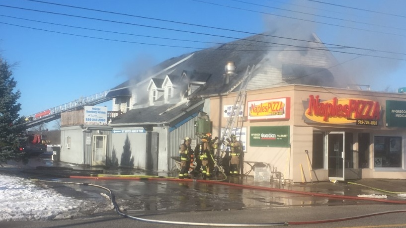Crews were called to the fire at Naples Pizza in McGregor, Ont., on Wednesday, Dec. 2, 2020. (Bob Bellacicco / CTV Windsor)