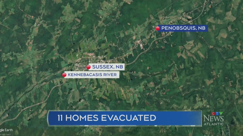 Homes evacuated due to flooding in Sussex