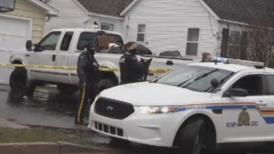 The RCMP respond to an incident in Moncton, N.B., on Dec. 2, 2020.