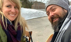 The cAbiners – Loni Konkal, from North Bay, and Dayv Poulin, from Sudbury – have written a lighthearted – but to the point – tune, 'Not That Kind of Christmas.' (Supplied)