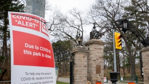 Fencing and blockades sit at the gates of High Park in Toronto on Friday, May 1, 2020. THE CANADIAN PRESS/Frank Gunn